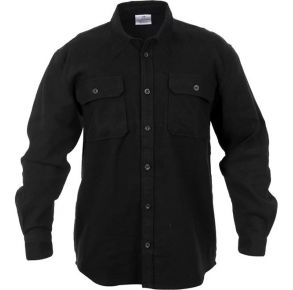Rothco Mens Heavy Weight Solid Flannel Long Sleeve Polo Shirt - Size 2XL - 4XL Front View